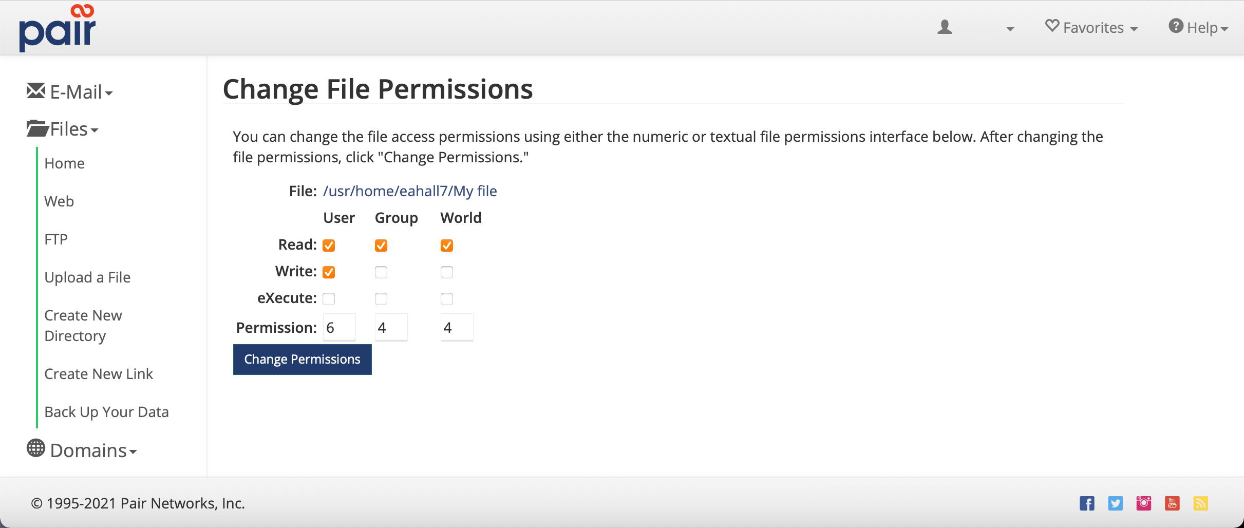 set permissions page image