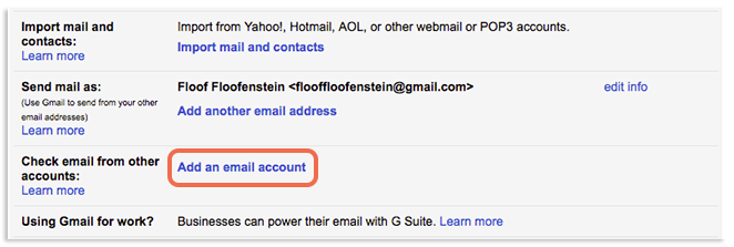 Add an email account button image