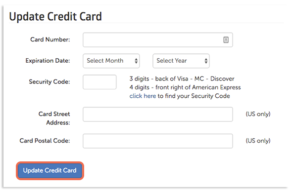 Update Credit Card button location