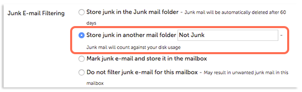 Sotre Junk in another mail folder option image