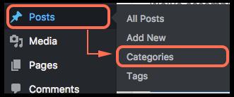 Posts dropdown to categories navigation image