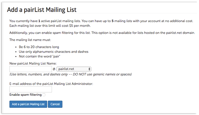 Add pairList Mailing List Page Image