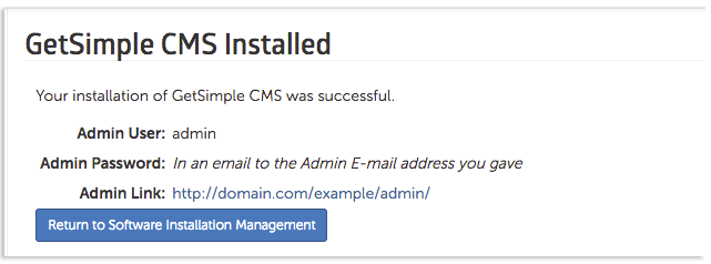 GetSimple CMS successfully installed image