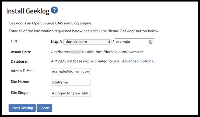 Geeklog Installation page image