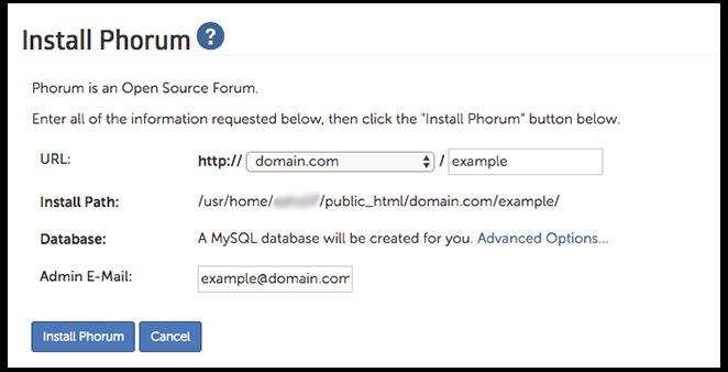 Phorum installation page image