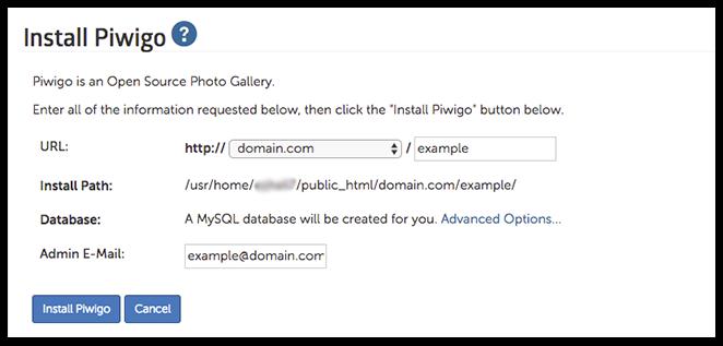 piwigo installation page image