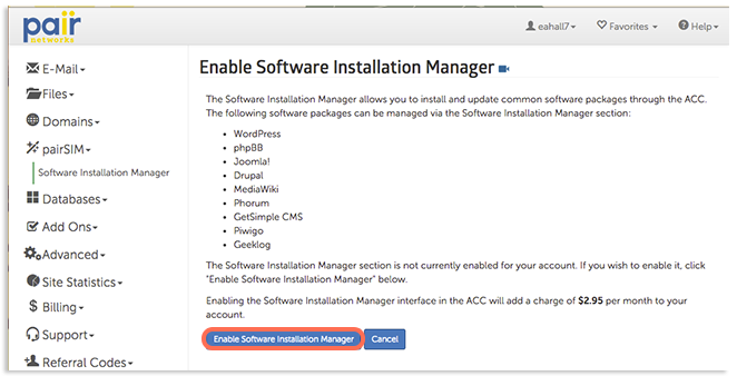 enable software installation manager image