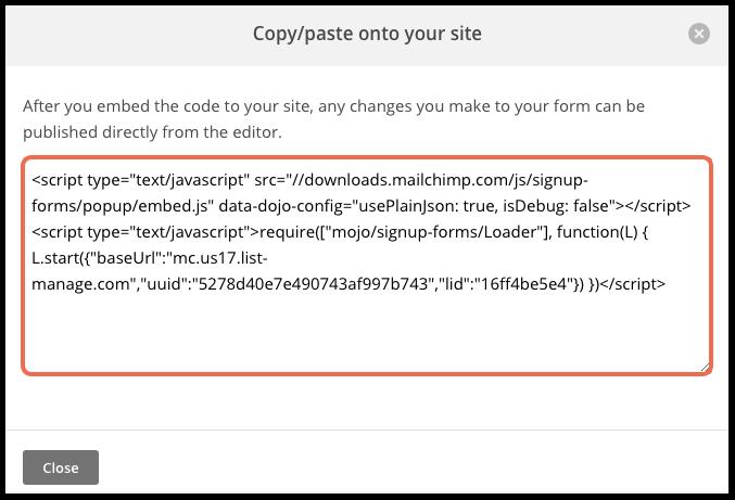 copyable code in popup image