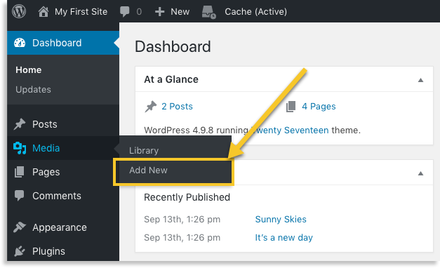 how to add media to a wordpress page