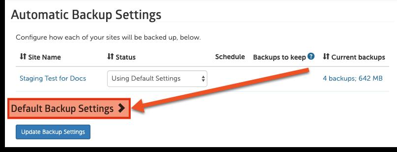 default backup settings