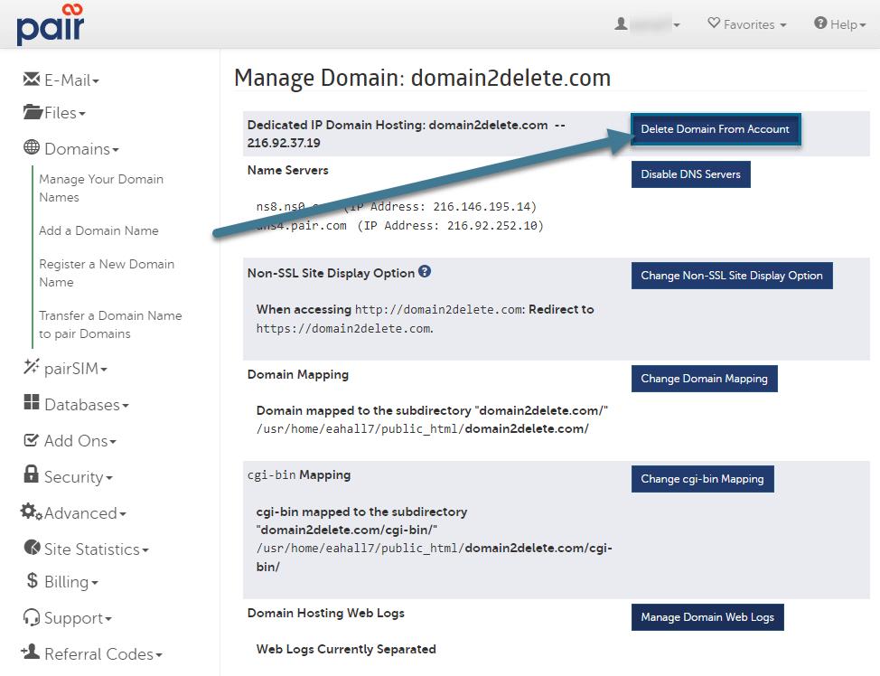 delete domain button image