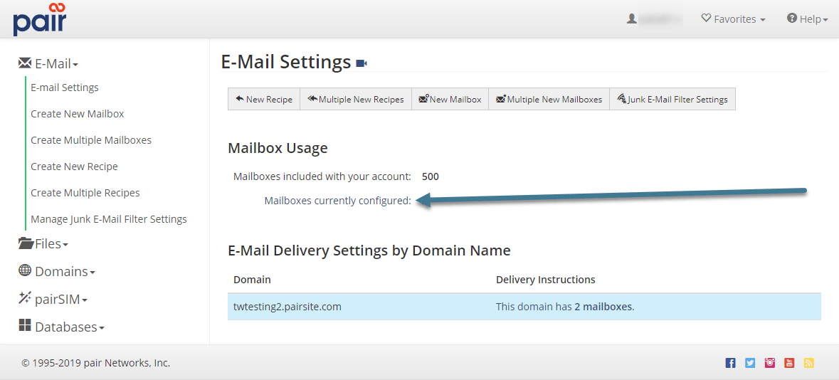 mailbox currently configured image