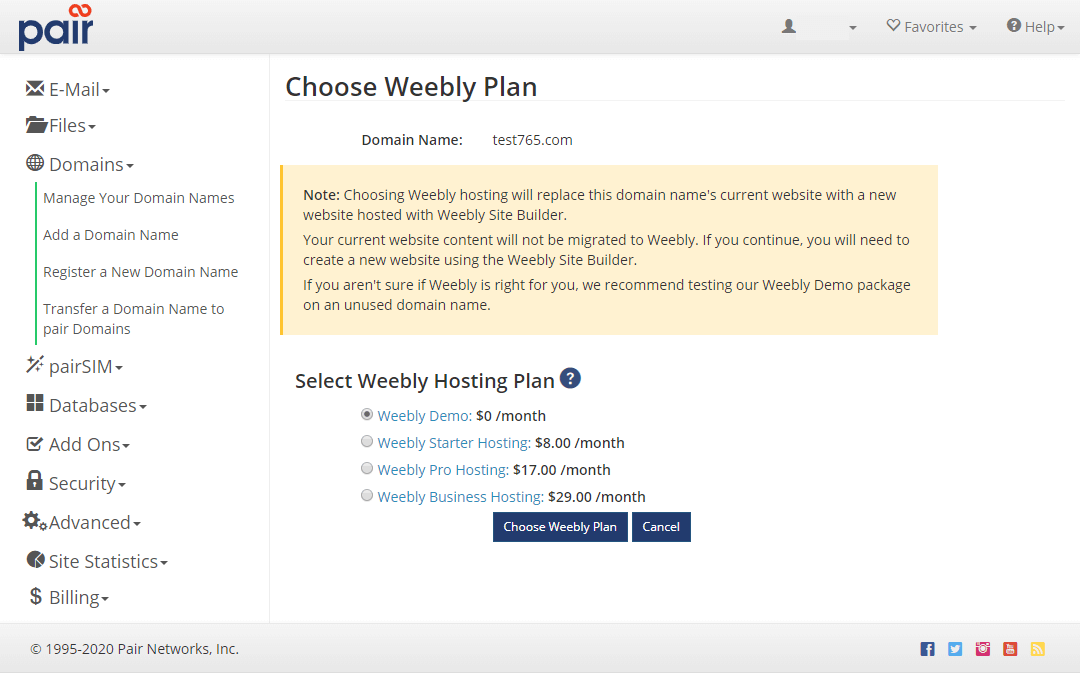 weebly plan list image