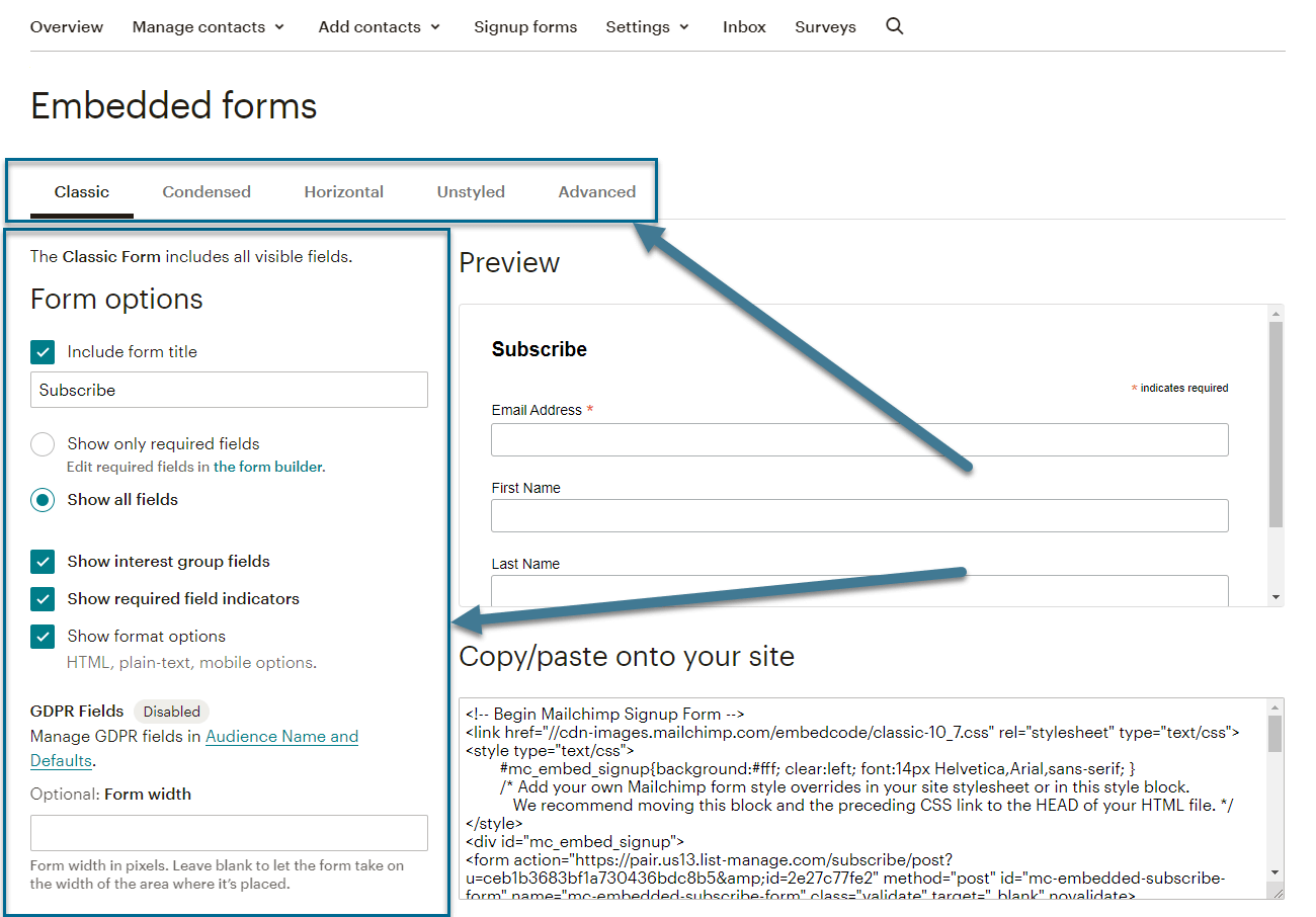 form options image
