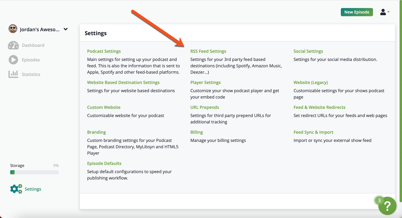 RSS feed settings image
